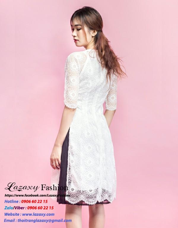 Áo dài cách tân ren cao phôi chân váy - ADCT 06
